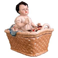 "Porcelain Trinket Box ""Boy with the Broken  Polichinelle"""