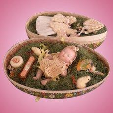 "4.5"" All Bisque Grace Putnam Bye Lo Doll in Egg Presentation Box"
