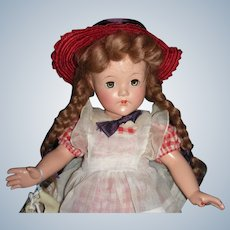 """1940's  Effanbee Composition  """" Little Lady Pigtails""""with Box"""