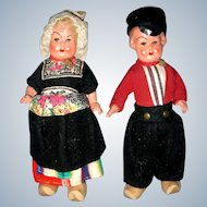 """1940's German Pair of all Bisque """"Dutch Boy and Girl"""""""