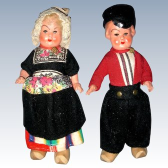 "1940's German Pair of all Bisque ""Dutch Boy and Girl"""