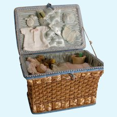 Antique Basket with Dolly and Her wardrobe