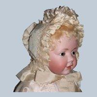 Antique Silk Bavolet Baby Doll Bonnet