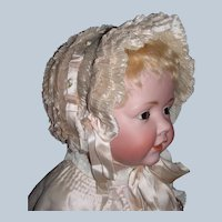 Antique Silk Ruched  Baby / Doll Bonnet