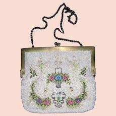 Vintage Floral Beaded Evening Bag