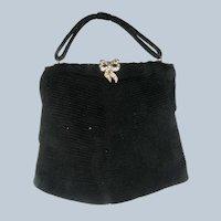 Black Podesua fabric Evening Bag