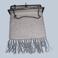 Larger Vintage Crystal Beaded Evening Bag