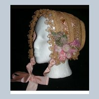 Gorgeous  Antique Straw Bonnet for Large Doll