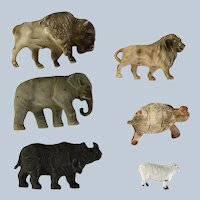 5 Celluloid animals and one metal sheep