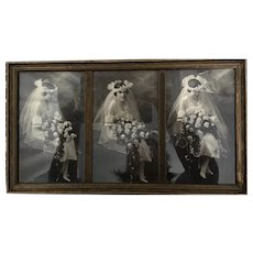 1920's  Lovely Bride  in a triptych photograph