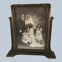Edwardian Era Wedding Photograph  in beautiful wooden swivel frame