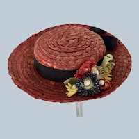 Wonderful Vintage Red Straw Doll  hat with straw flowers and grosgrain ribbon