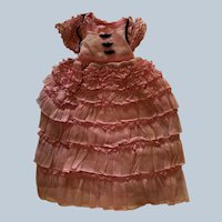 Vintage awesome organdy ruffled doll gown 1930-40's