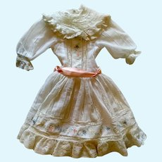 Large doll dress trimmed with embroidery, lace and insertion pieces