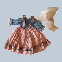 1930s Molly-es  cloth Dolls  cotton dress and organdy bonnet