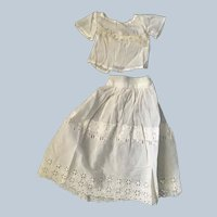 2 Piece Vintage Doll White eyelet cut work blouse and skirt