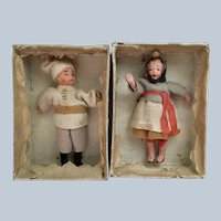 2 Vintage  Made in Japan jointed bisque dollhouse dolls