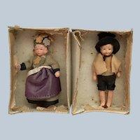 "2 Vintage  4"" Made in Japan dollhouse bisque dolls"