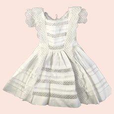 Beautiful Victorian/Edwardian Child - Doll cutout white work Dress