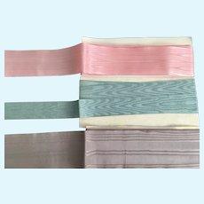 3 Vintage Parcels of   Silken Moire' Ribbon