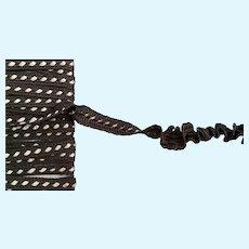 "Vintage Tiny 1/8"" Brown Ruching Ribbon Trim"