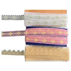 3 Contemporary Bright Colored Lace Trims Doll Sized