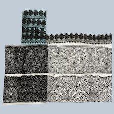 3 Vintage Black Lace Parcels