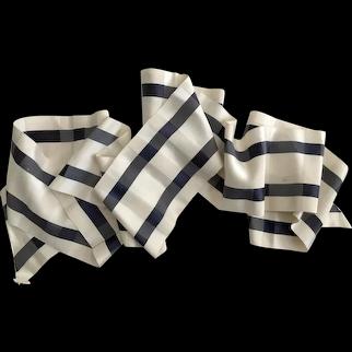 "Vintage  5 1/2"" Wide Navy Plaid Silk Sash Ribbon"