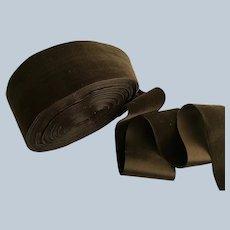 "Vintage  2 1/2"" Wide Chocolate Brown Silk Backed Velvet Ribbon"