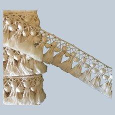 """Vintage  1 3/8"""" Wide Ivory Tassel Fringe Trim"""