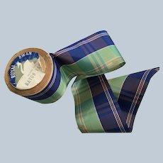 """Vintage 3"""" Rayon Plaid Taffeta Ribbon"""