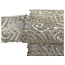 "Vintage 2 1/4"" Wide Iridescent Sequined Netting Trim"