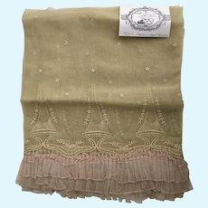 Vintage 1920's Embroidered  Silk Organdy