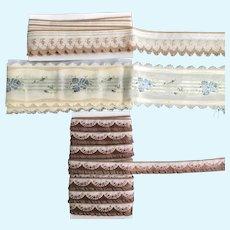 3 Vintage French Jacquard Ribbons
