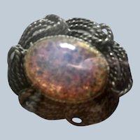 """Vintage 1 1/4"""" Wide Faux Opal Silvertone Brooch"""