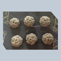 6 Vintage Fancy Crocheted Buttons