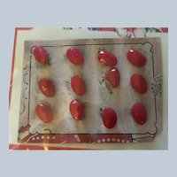12 Vintage  Red Faceted Glass Buttons