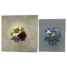 2 Vintage Porcelain Lapel Pins / Brooches