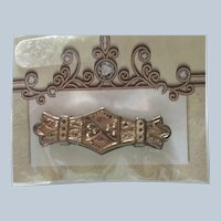 Vintage  Early Gold toned Bar Brooch
