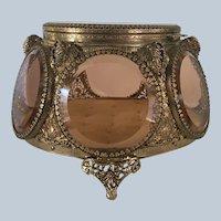 Gorgeous 6 Sided PINK Glass Jewelry Casket- Box