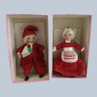 "Alma LeBlancs Tiny Town Dolls "" Mr and Mrs Yule"" AKA Santa"
