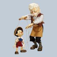 "1995 R John Wright "" Geppetto & Pinocchio"" Series 1 Marionette"