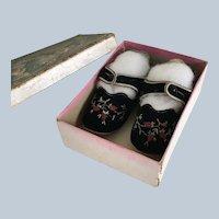 Vintage Velvet Embroidered Doll Shoes