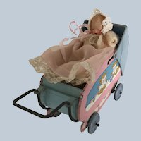 Vintage Tiny German All Bisque Baby in Tin Buggy