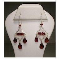 Sterling Silver Garnet Chandelier Earrings