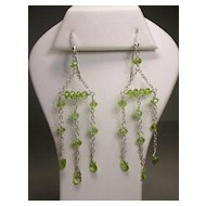 Sterling Silver Peridot Chandelier Earrings