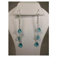Triple Drop Blue Green Apatite Sterling Silver Earrings