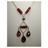 Sterling Silver Garnet Chandelier Necklace