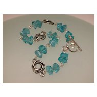 Greenish-Blue Apatite Sterling Silver Bracelet