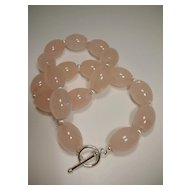 Rose Quartz Barrel Sterling Silver Necklace